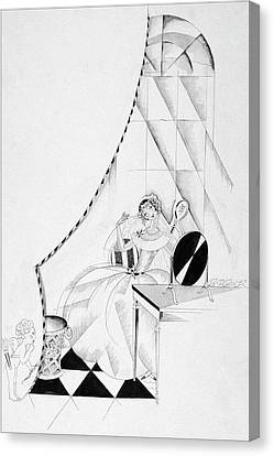 Illustration Of A Woman In A Wedding Dress Canvas Print