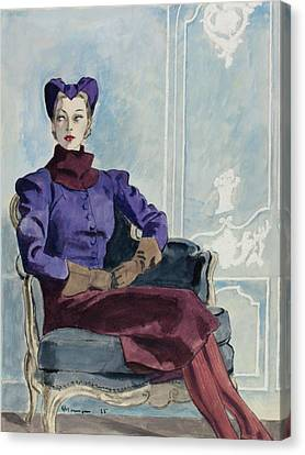 Illustration Of A Woman In An Armchair Canvas Print
