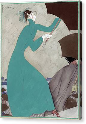 Illustration Of A Woman In The Rain Canvas Print by Georges Lepape