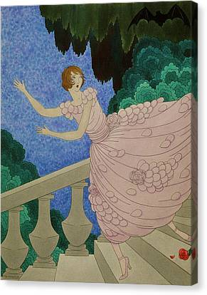 Illustration Of A Woman Running Down A Staircase Canvas Print by Harriet Meserole