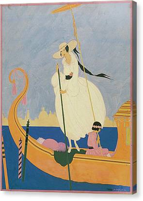 Illustration Of A Woman Standing On A Gondola Canvas Print by Helen Dryden