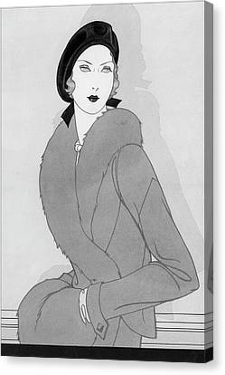 Illustration Of A Woman Wearing Beret Canvas Print