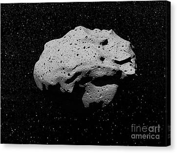 Illustration Of An Asteroid In Outer Canvas Print by Elena Duvernay