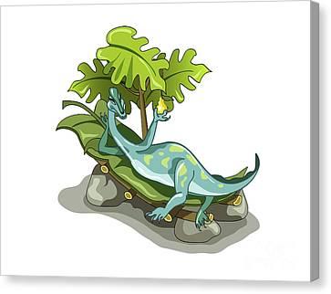 Illustration Of An Iguanodon Sunbathing Canvas Print by Stocktrek Images