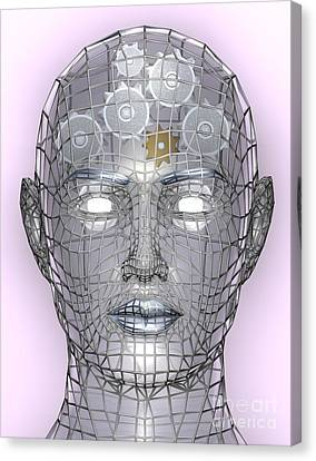 Illustration Of Cogs Or Gears In Human Head Canvas Print by Christos Georghiou