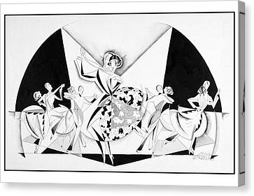 Wife Canvas Print - Illustration Of Couples Dancing by John Barbour