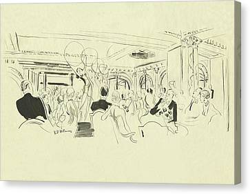 Illustration Of Elegant People At Dinner Tables Canvas Print