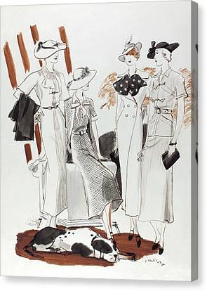 Illustration Of Four Models In Luncheon Costumes Canvas Print