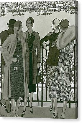 Illustration Of Four Women At The Grand National Canvas Print by Pierre Mourgue