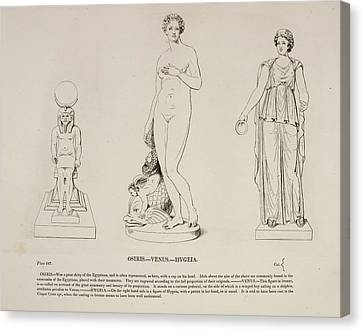 Reliefs Canvas Print - Illustration Of Human Figure Statues by British Library