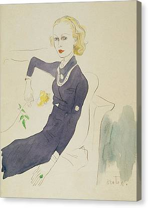 Illustration Of Lady Abdy Sitting On Sofa Canvas Print by Cecil Beaton
