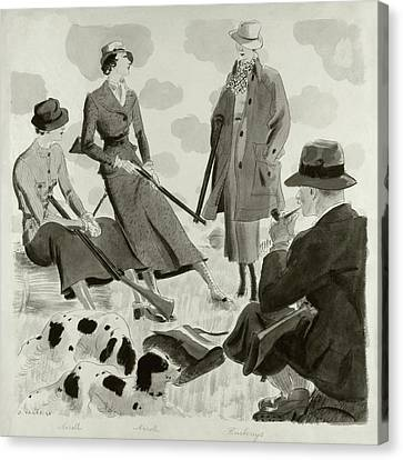 Illustration Of Men And Women Wearing Hunting Canvas Print