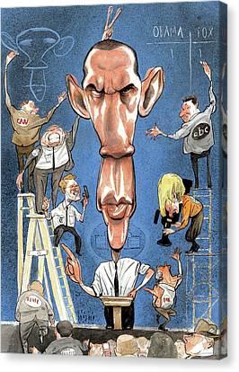 January Canvas Print - Illustration Of Obama Giving A Speech by Steve Brodner