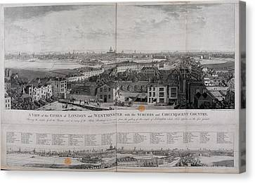 City Of Bridges Canvas Print - Illustration Of The City Of London by British Library