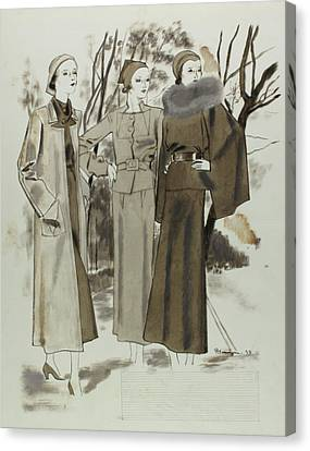 Illustration Of Three Women In A Park Canvas Print
