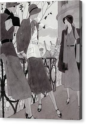 Illustration Of Three Women Wearing Stylish Suits Canvas Print by Jean Pages