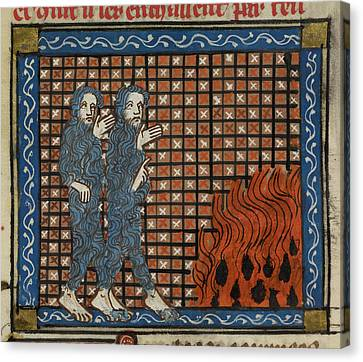 Illustration Of Two Men And A Fire Canvas Print by British Library