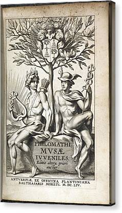Illustration Of Two Men Under A Tree Canvas Print by British Library