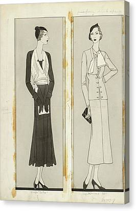 Clutch Bag Canvas Print - Illustration Of Two Women In Elegant Fashion by Douglas Pollard