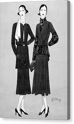Clutch Bag Canvas Print - Illustration Of Two Women In Lavin Suits by Douglas Pollard