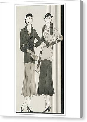 Clutch Bag Canvas Print - Illustration Of Two Women Modeling Suits by Douglas Pollard