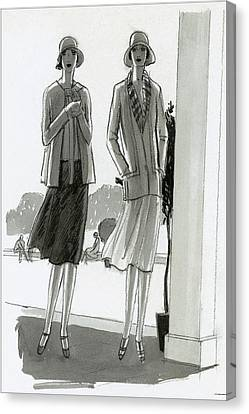 Illustration Of Two Women Standing In A Shadow Canvas Print by Porter Woodruff