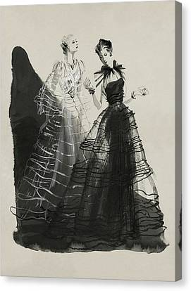 Tulle Canvas Print - Illustration Of Two Women Wearing Evening Gowns by Rene Bouet-Willaumez