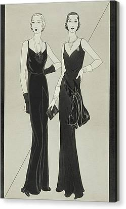 Clutch Bag Canvas Print - Illustration Of Two Women Wearing Mainbocher by Douglas Pollard