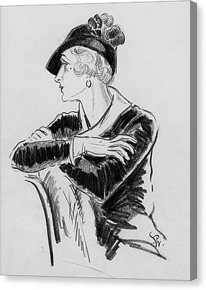 Illustration Of Woman Wearing Franklin Simon Hat Canvas Print