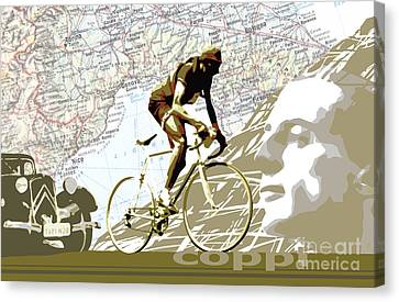 Illustration Print Giro De Italia Coppi Vintage Map Cycling Canvas Print