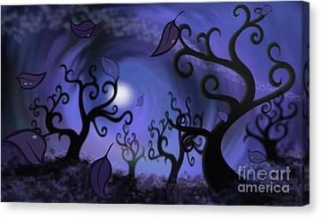Illustration Print Of Spooky Forest Of Curly Trees Canvas Print by Sassan Filsoof