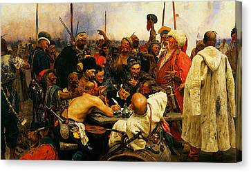 Ilya Repin 3 Reply Of The Zaporozhian Cossacks To Sultan Mehmed Iv Of Ottoman Empire1 Canvas Print