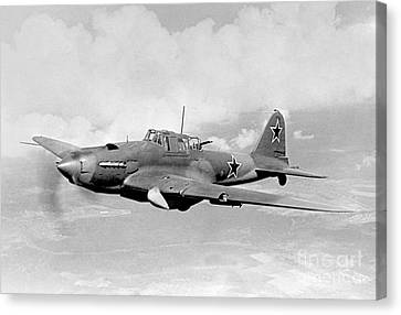 Russian Icon Canvas Print - Ilyushin Il-2 Sturmovik In Flight by Ria Novosti
