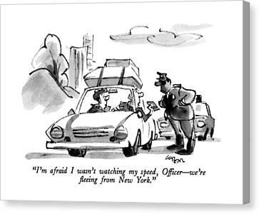 New York Cops Canvas Print - I'm Afraid I Wasn't Watching My Speed by Lee Lorenz