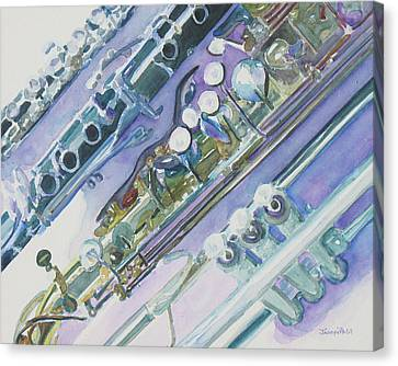 Jazzy Canvas Print - I'm Still Painting On The Keys by Jenny Armitage