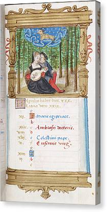 Image Of Lovers Playing The Lute Together Canvas Print by British Library