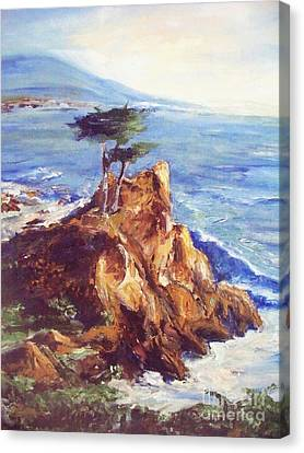 Canvas Print featuring the painting Imaginary Cypress by Eric  Schiabor