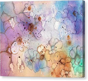 Canvas Print featuring the painting Imaginary Figments Abstract Flowers by Nan Wright