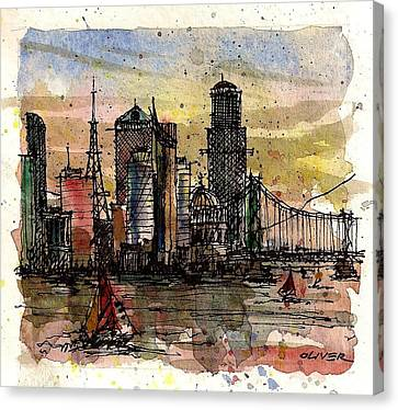 Canvas Print featuring the mixed media Imaginary Skyline by Tim Oliver