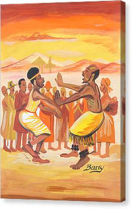 Canvas Print featuring the painting Imbiyino Dance From Rwanda by Emmanuel Baliyanga