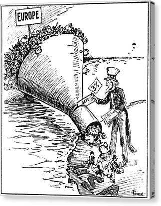 Immigration Cartoon, 1921 Canvas Print by Granger