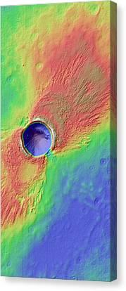 Impact Crater In Arcadia Planitia Canvas Print