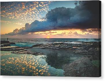 Impact On The Shore Canvas Print by Mark Lucey