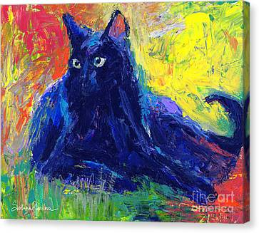 Impasto Black Cat Painting Canvas Print by Svetlana Novikova