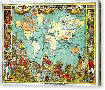 Imperial Federation Map Of The World Showing The Extent Of The British Empire In 1886 Canvas Print by Celestial Images