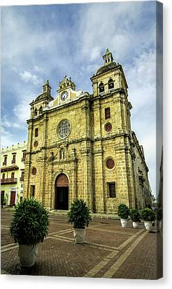Cartagena Canvas Print - Imposing Church Of San Pedro Claver by Jerry Ginsberg