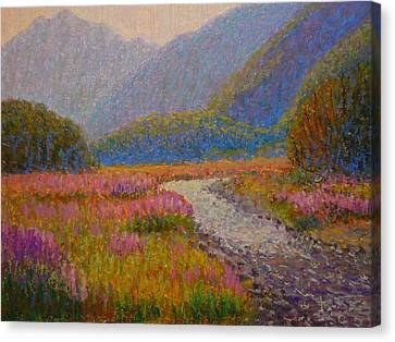 Impression Lupins Cascade Creek Canvas Print