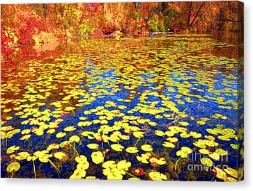 Waterlily Canvas Print - Impression Of Waterlily Pond by Charline Xia
