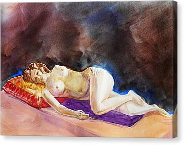 Impressionism Of Reclining Nude Canvas Print