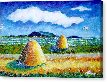 Impressionist Landscape With Ufo Canvas Print by Ion vincent DAnu